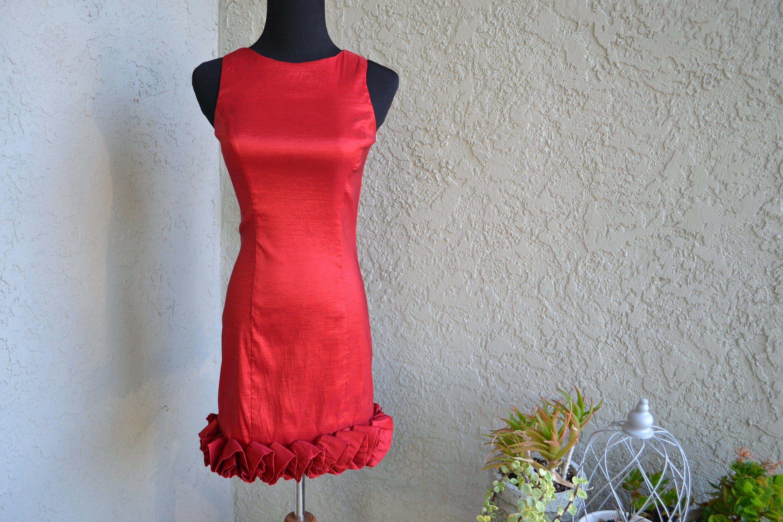 Vintage Red Satin Sleeveless Dress by Jessica McClintock Size 2 #blacksleevelessdress