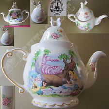 New Authentic Disney Parks Alice in Wonderland Cream Large Teapot - Mad Hatter