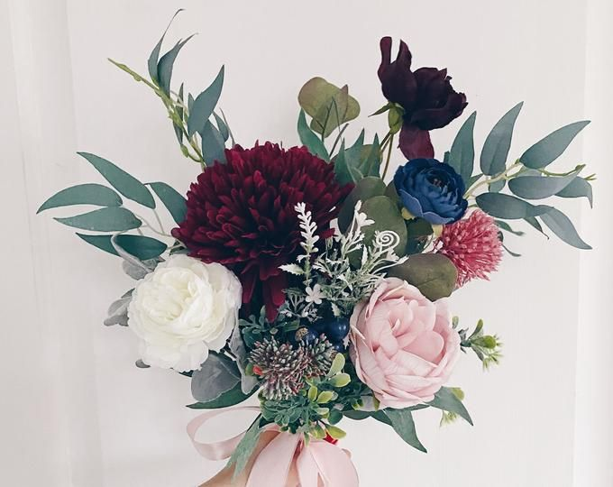 Photo of Succulent bouquet, purple bouquet, peach bouquet, burgundy bouquet, wildflower bouquet, rustic silk bouquet, boho bouquet, wild bouquet