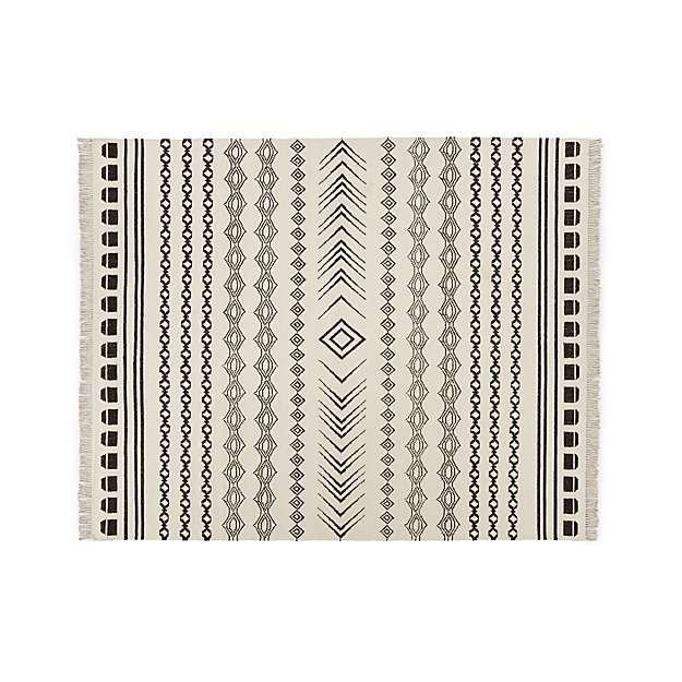 Sota Black Aztec Stripe Rug 8 X10 Reviews Crate And Barrel Striped Rug Rugs Girls Rugs