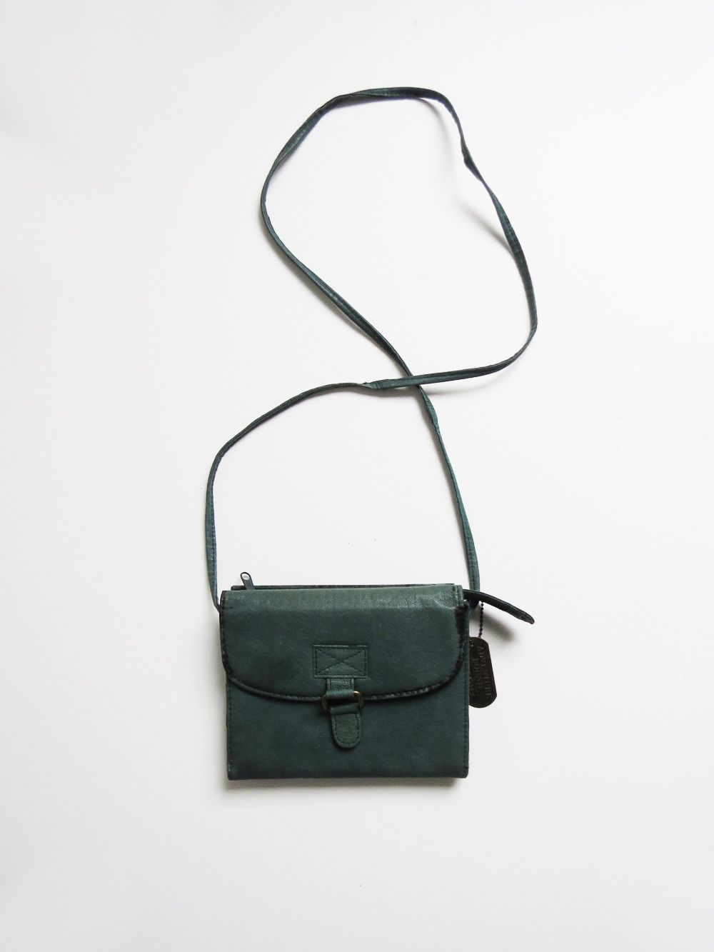 Teal Cross Body Purse // 1990's Leather Purse SOLD