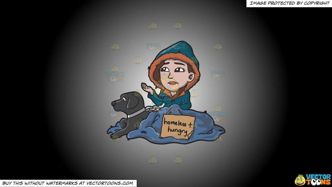 Clipart A Homeless And Hungry Woman With A Black Dog On A White And Black Gradient Background In 2021 Black Dog White And Black Clip Art