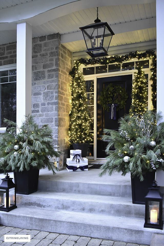 Christmas Front Porch Decor with Fresh Greenery -