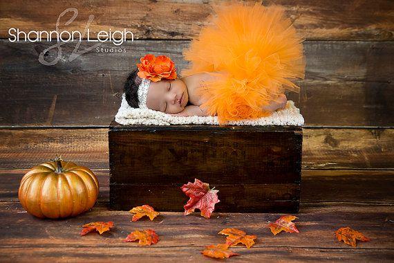 Sweet Autumn Tutu Set Fall Tutu Orange Tutu Custom Made With Matching Vintage Style Flower Headband Stunning Newborn Photo Prop on Etsy, $45.00