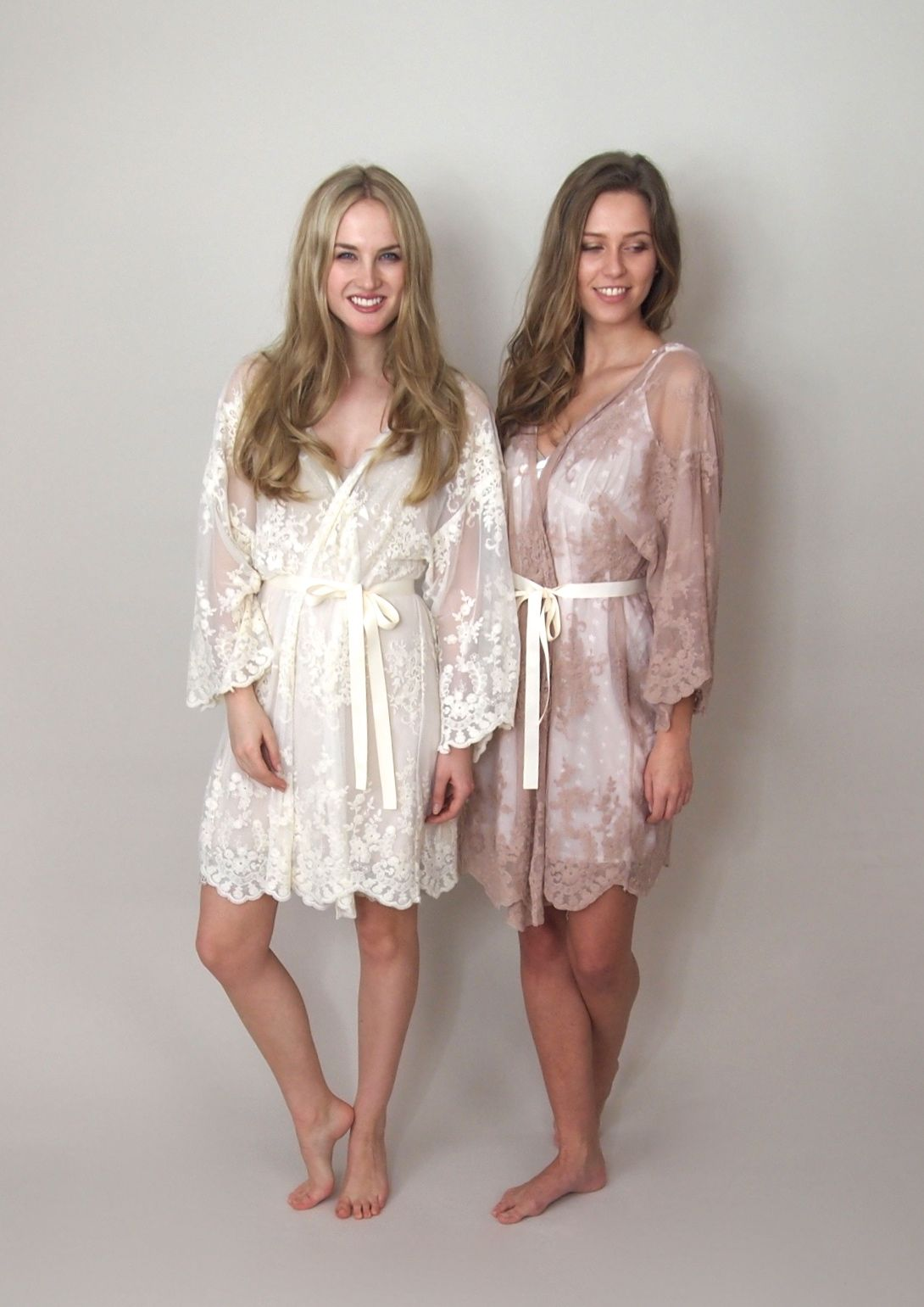 Helena Getting Ready Kimono In Ivory And Blush 100 Guipiere Lace