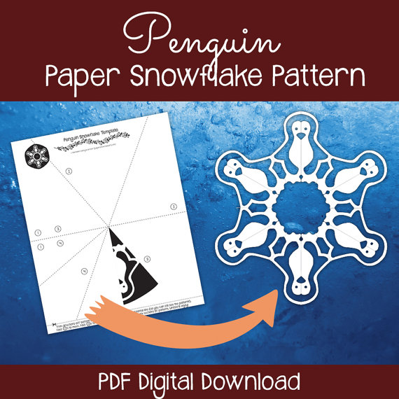Penguin Paper Snowflake Pattern (PDF Digital Download) - Paper - penguin template