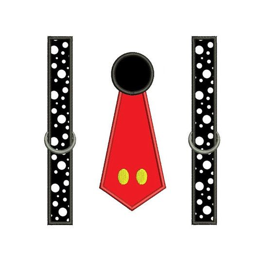 Red and Black Tie with suspenders Applique by EmbroideryMonkey