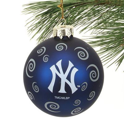 New York Yankees Swirl Ball Ornament - Navy Blue - New York Yankees Swirl Ball Ornament - Navy Blue Christmas For A