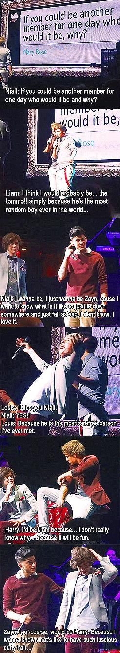 Zayn: Of course I would be you Harry, because I would like to know what it would be like to have such luchious, curly hair :)
