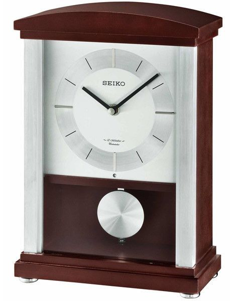 Seiko Contemporary Musical Wooden Mantel Clock With Pendulum - 12 Hi Fi Melodies