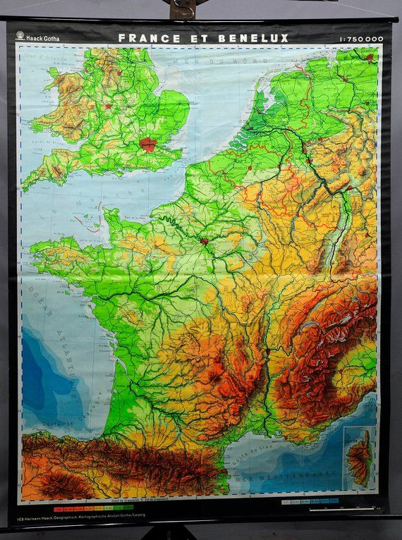 Geographical Map Of France.Vintage Rollable Geographical Wall Chart Poster Map France And