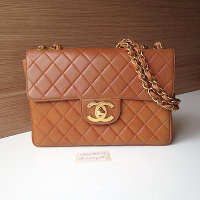a355bdbb8a9878 Chanel Tan Brown Lambskin Jumbo Flap Bag with Large CC Hardware | Lollipuff