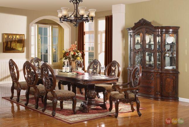 Windham Formal Dining Set Walnut Brown Wood Carved Dining Room Set