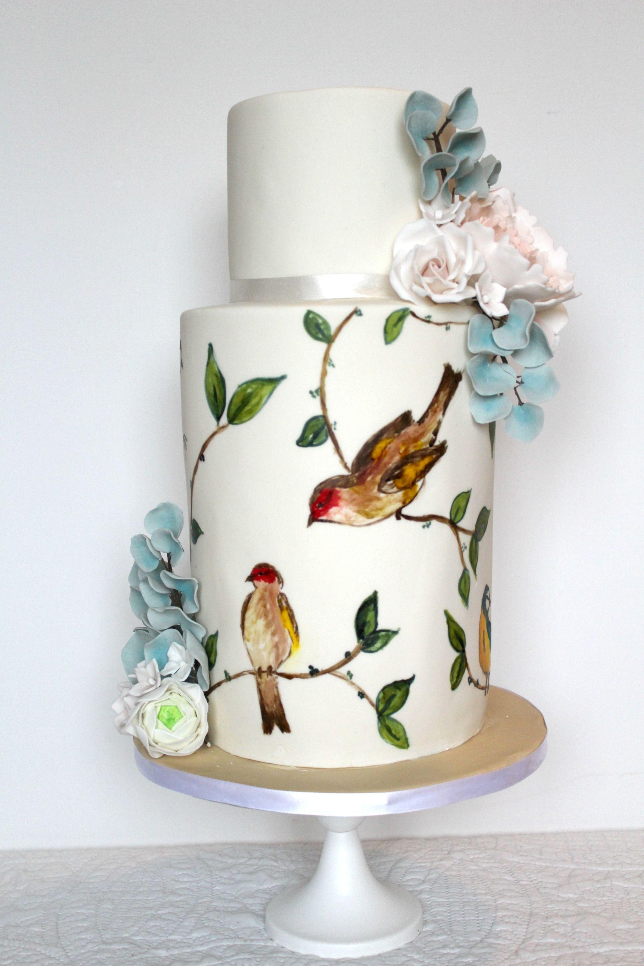 paintedcake #weddingcake #birds #nature #handpainted #sugarflowers ...