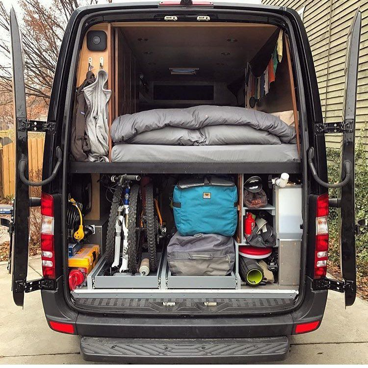 Sprinter Van Conversion I Spy Lots Of Toys Permanentroadtrip Shows Off Their Garage