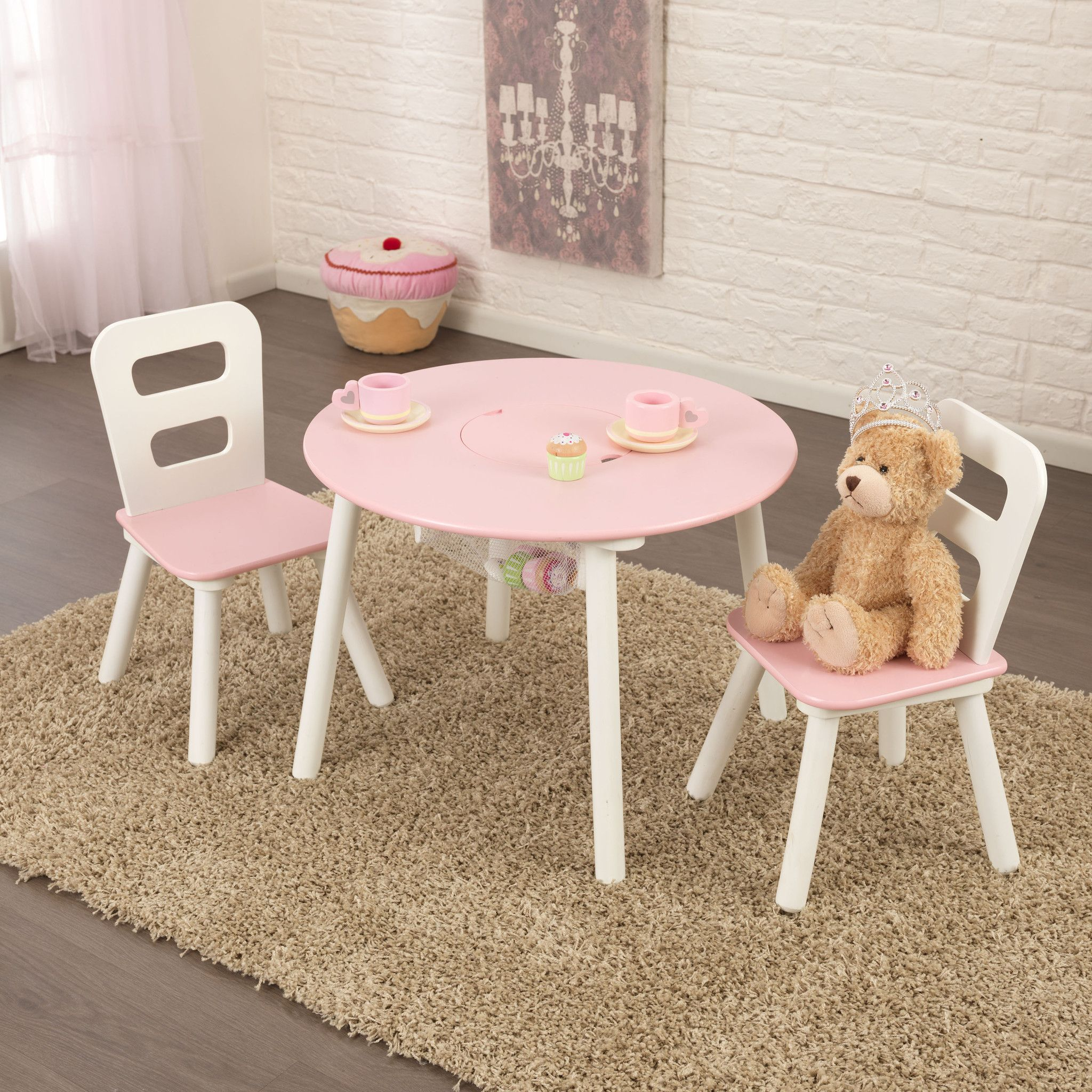 Kidkraft Round Storage Table Chair Set White Pink 26165