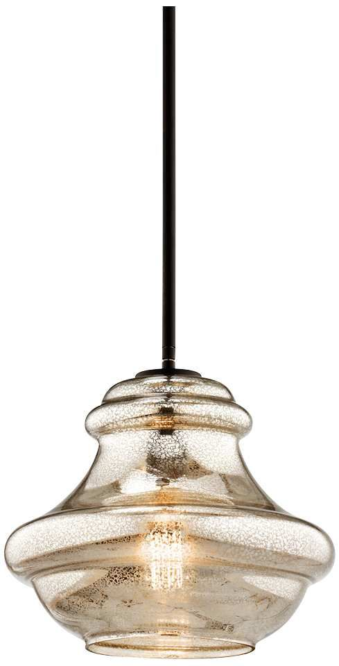 "Kichler Everly Clear Glass 12"" Wide Olde Bronze Pendant"