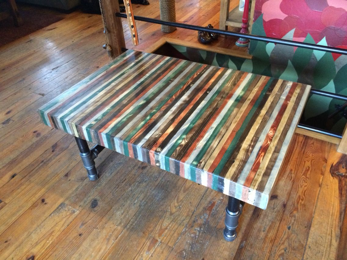 Butcher Block Out Of Pallet Wood Coffee Table With Threaded Pipe H Shape Legs