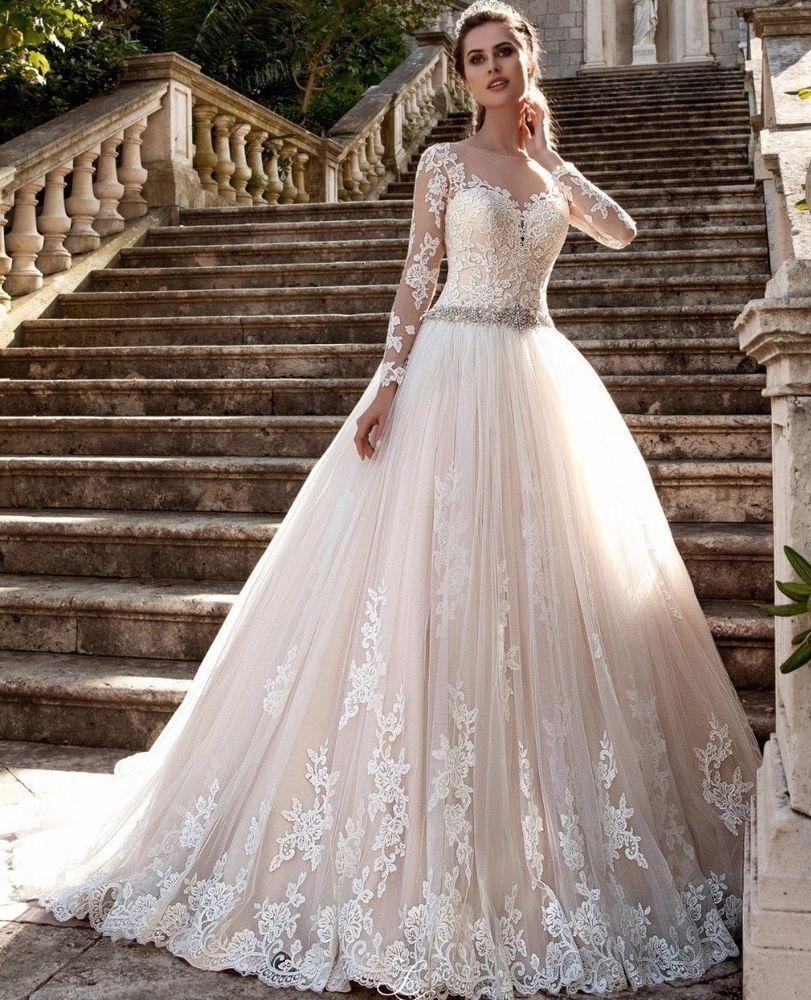 Sheer long sleeve wedding dresses  Long Sleeve Wedding Dress Sheer Lace Bead A Line Winter Bridal Gown