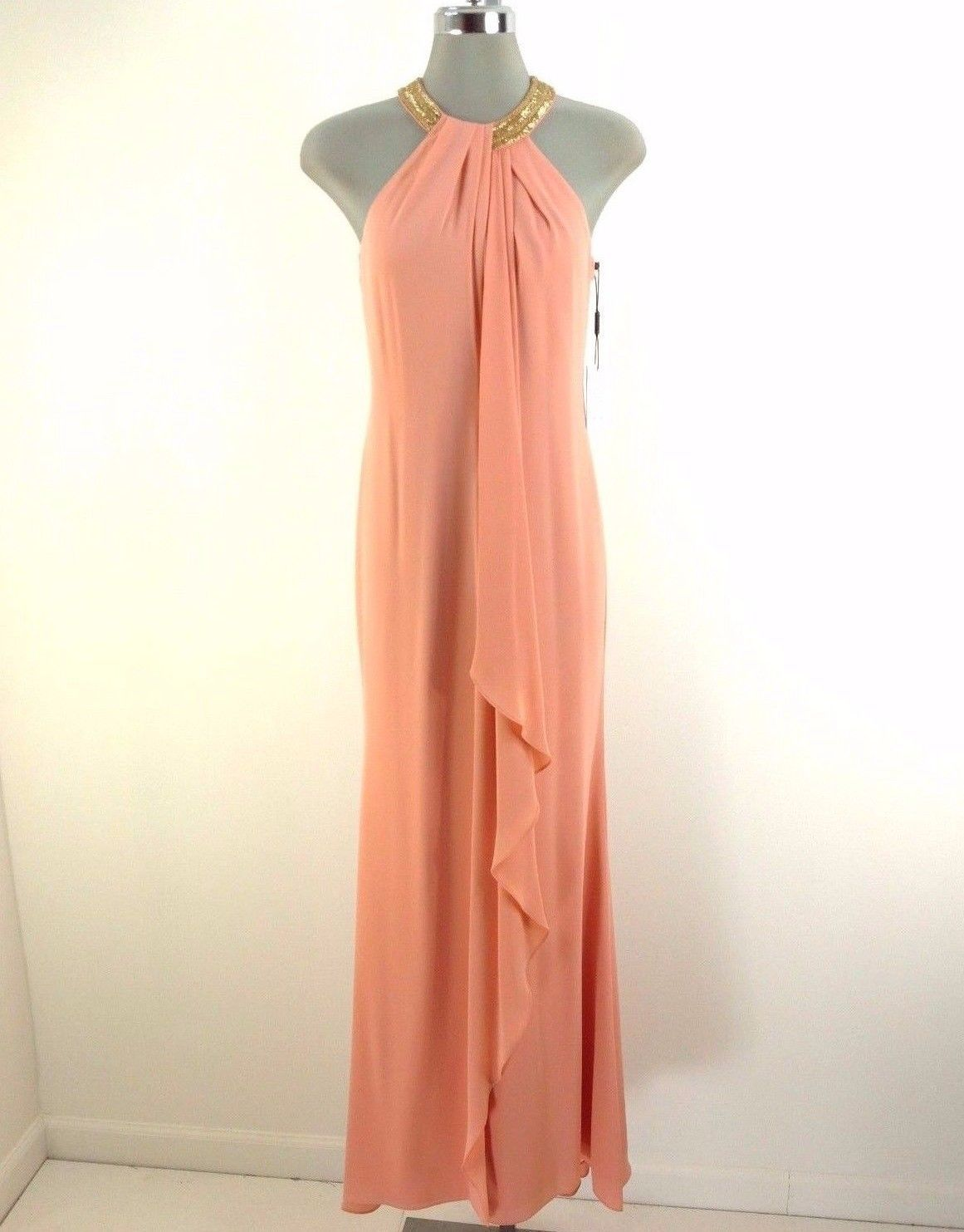 Calvin klein wt red carpet ready peach color formal dress beaded