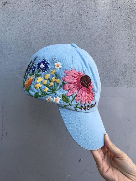 85cdc80f7e2400 Hand Embroidered Hat / Custom Embroidered Hat / Floral Embroidered Hat / Embroidered  Baseball Caps /