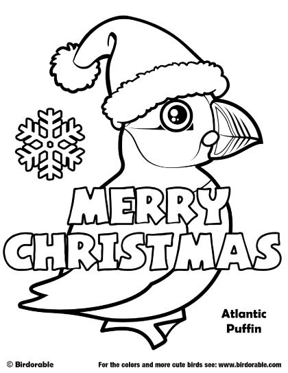 Birdorable Atlantic Puffin Christmas Coloring Page Puffin