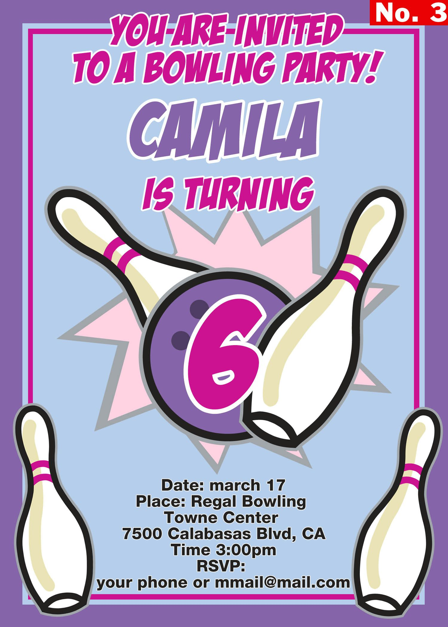 Bowling birthday party invitation for girls. Purple and pink colors ...