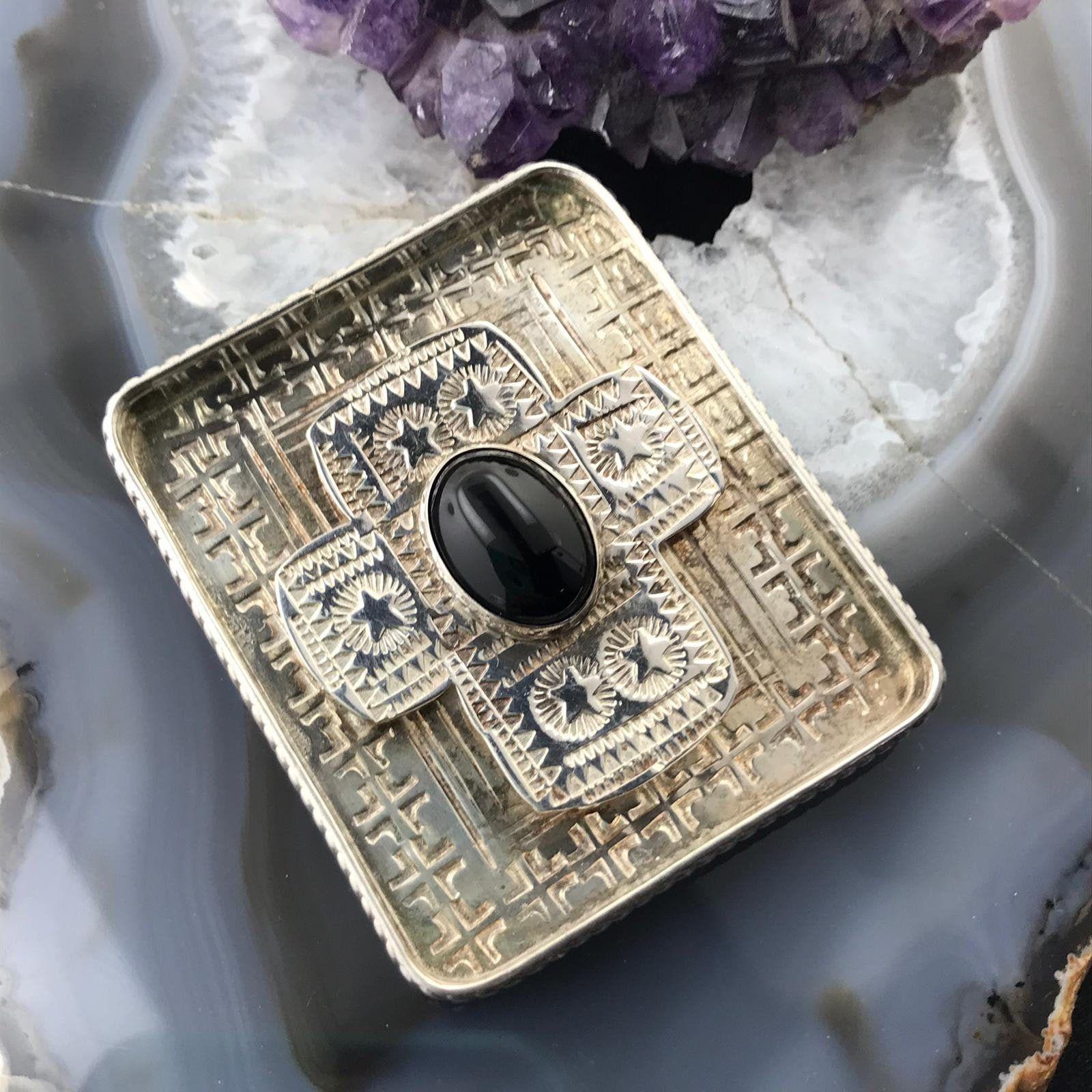 Grady Alexander Sterling Silver Oval Onyx Stamped Brooch