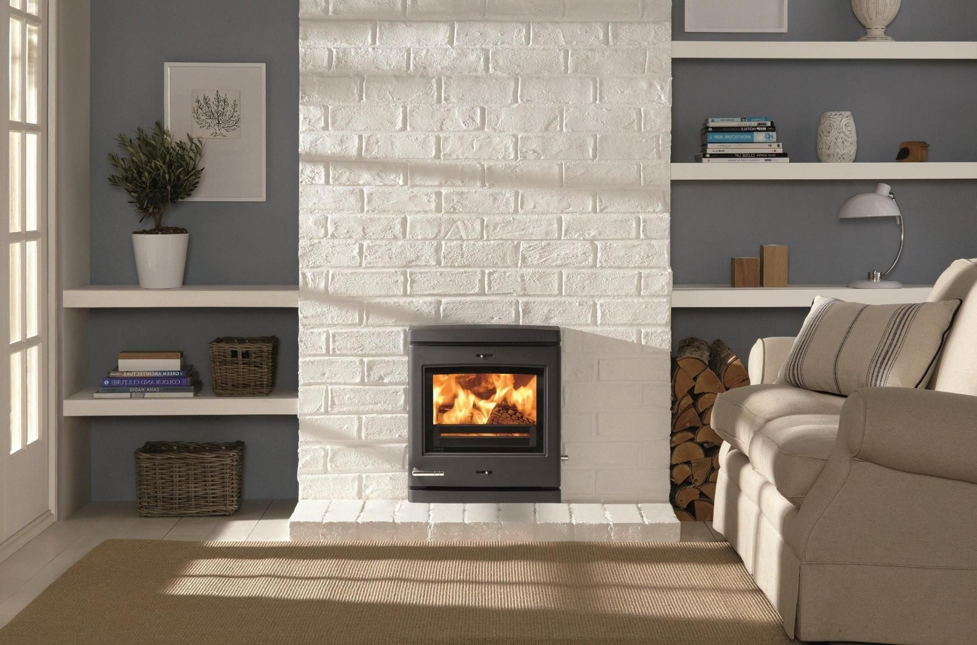 Contemporary Outstanding Electric Fireplace Design Insert On The White Stone Wall Between Shelve Fireplace Wall White Brick Fireplace Modern Electric Fireplace