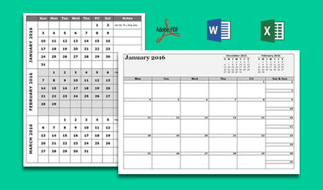 Great Collections Of Free Calendar Templates Available In Many