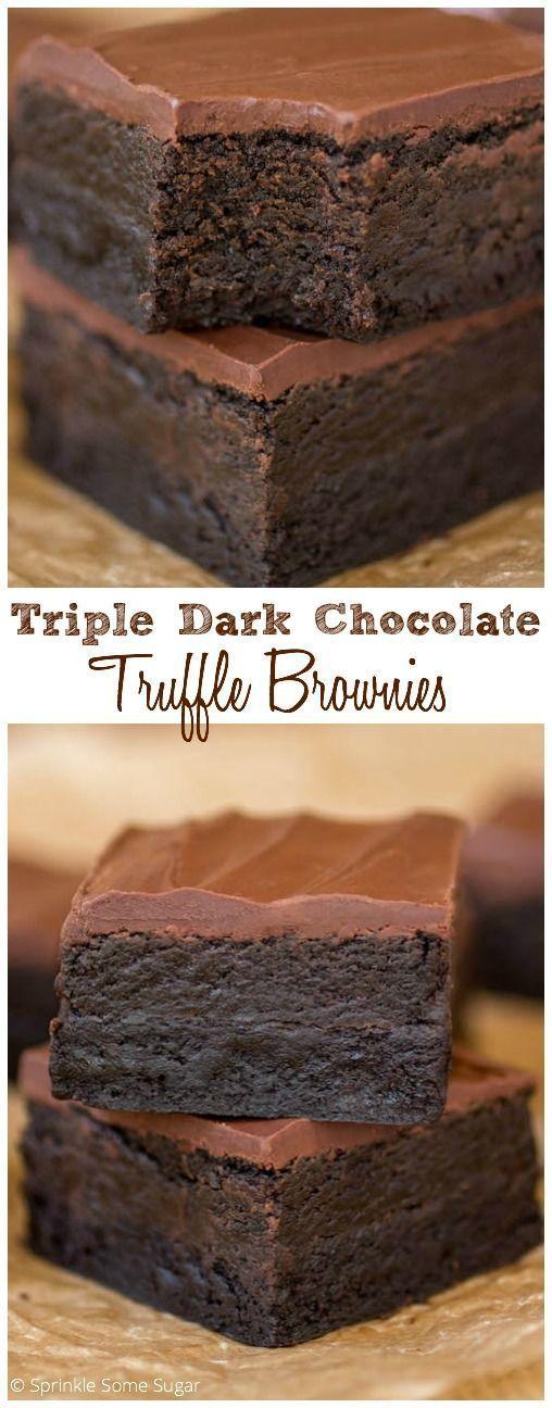 Triple Dark Chocolate Truffle Brownies - Sprinkle Some Sugar