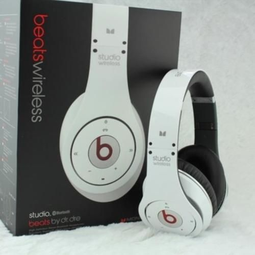 Beats by Dr Dre Studio Wireless Headphones WHITE (With