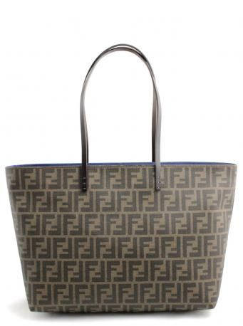 58fab22c800 Fendi roll bag zippered zucca tobacco+dark brown-blue - shopping bag.  Handbag