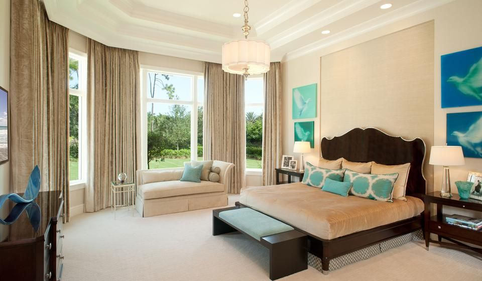 modern master bedroom, teal accents, octagon shape, tan drapes and ...