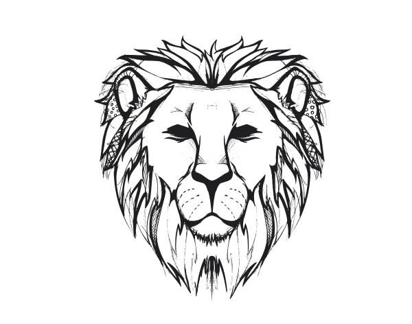 Cougar Face Line Drawing : Great reference for the lines of a lion jewelry