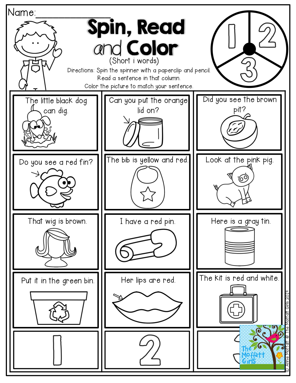Spin The Spinner Read The Sentence And Color The Picture To Match Reading Classroom Kindergarten Reading First Grade Reading [ 1325 x 1024 Pixel ]