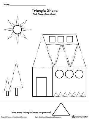 find trace color and count the shapes triangle tracing shapes shapes worksheets and. Black Bedroom Furniture Sets. Home Design Ideas
