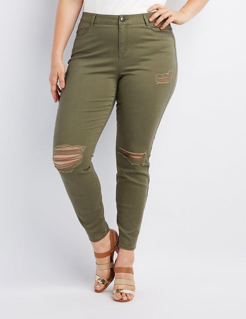 526e289508e Plus Size Refuge Skin Tight Legging Destroyed Jeans