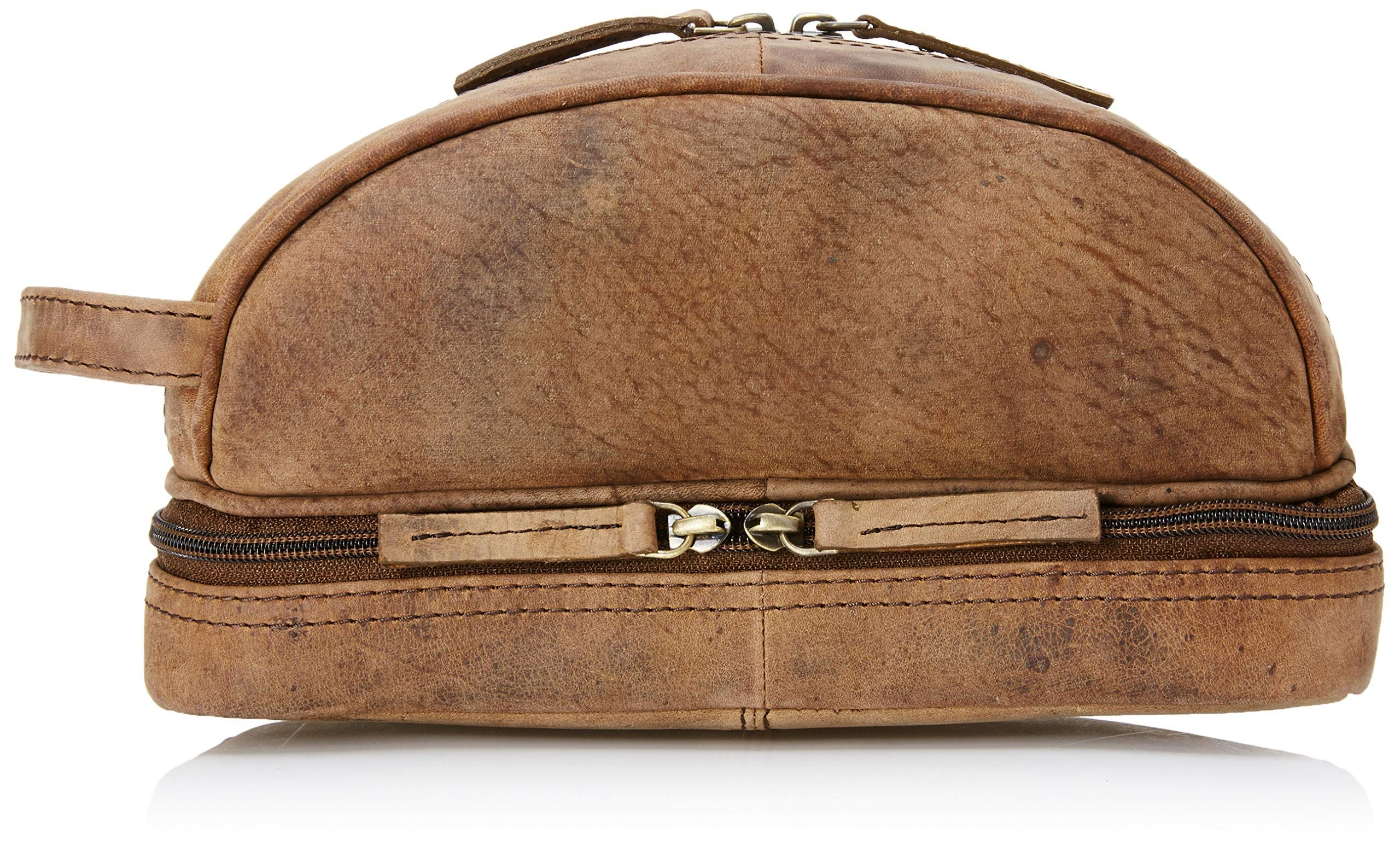 Genuine Buffalo Leather Unisex Toiletry Bag Travel Dopp Kit By Vintage Couture