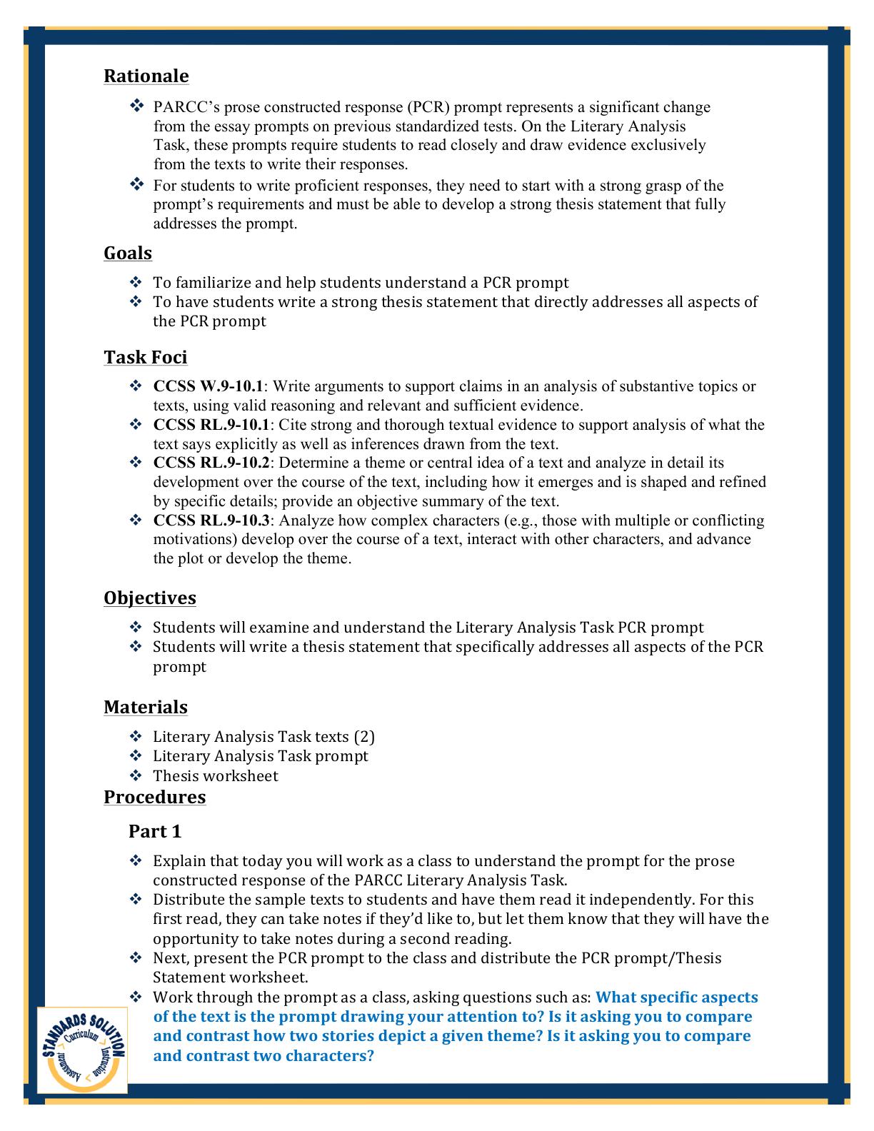 Parcc Gr  Writing Lesson Plan Samples Pg  Parcc Th Grade