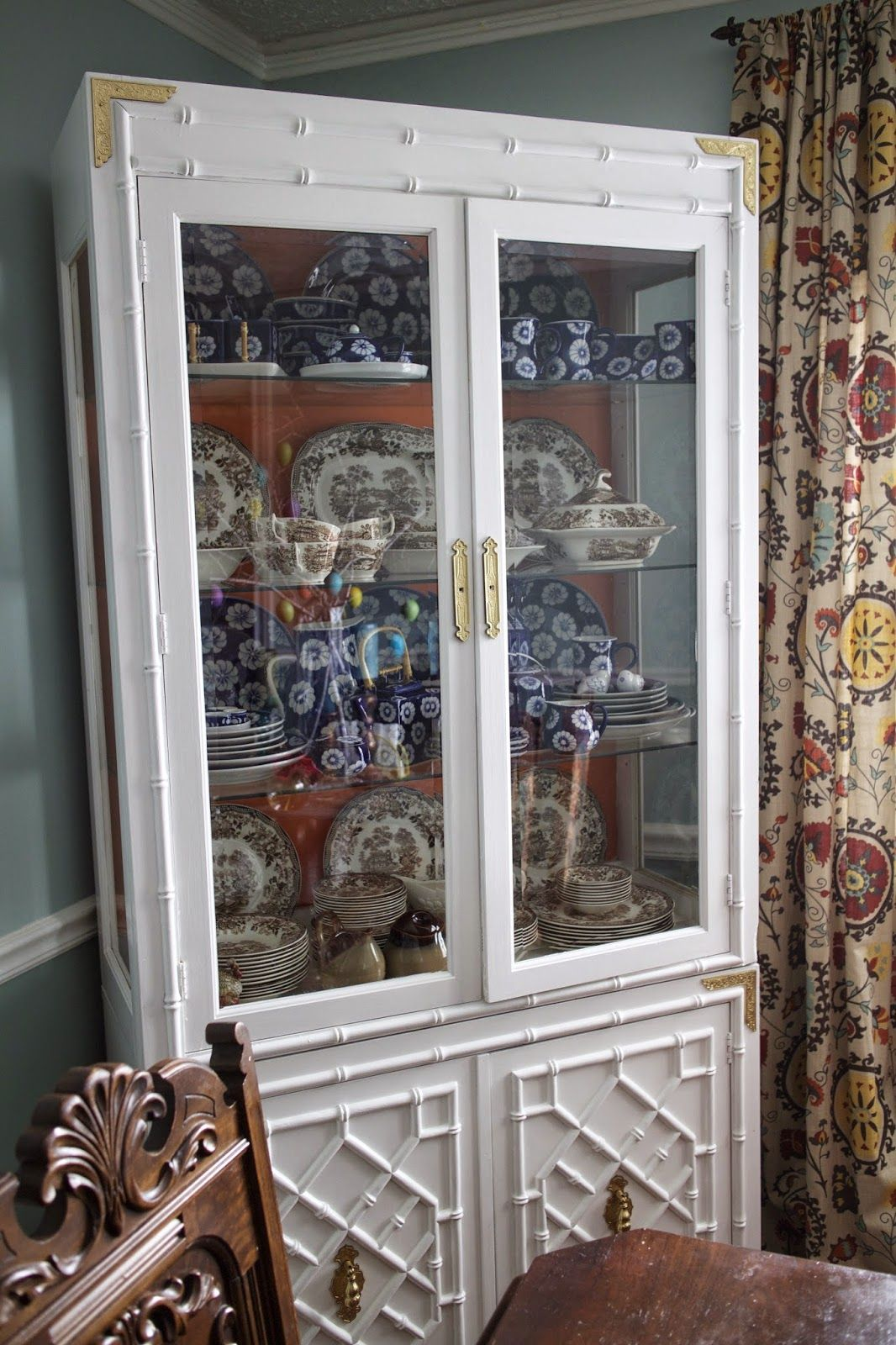 Hollywood Regency faux bamboo Huntley china cabinet ...