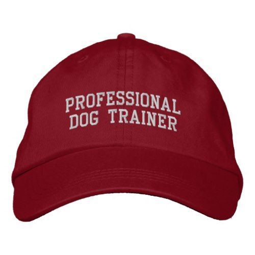 8a13de713dc Red and Silver Professional Dog Trainer Embroidered Baseball Cap ...
