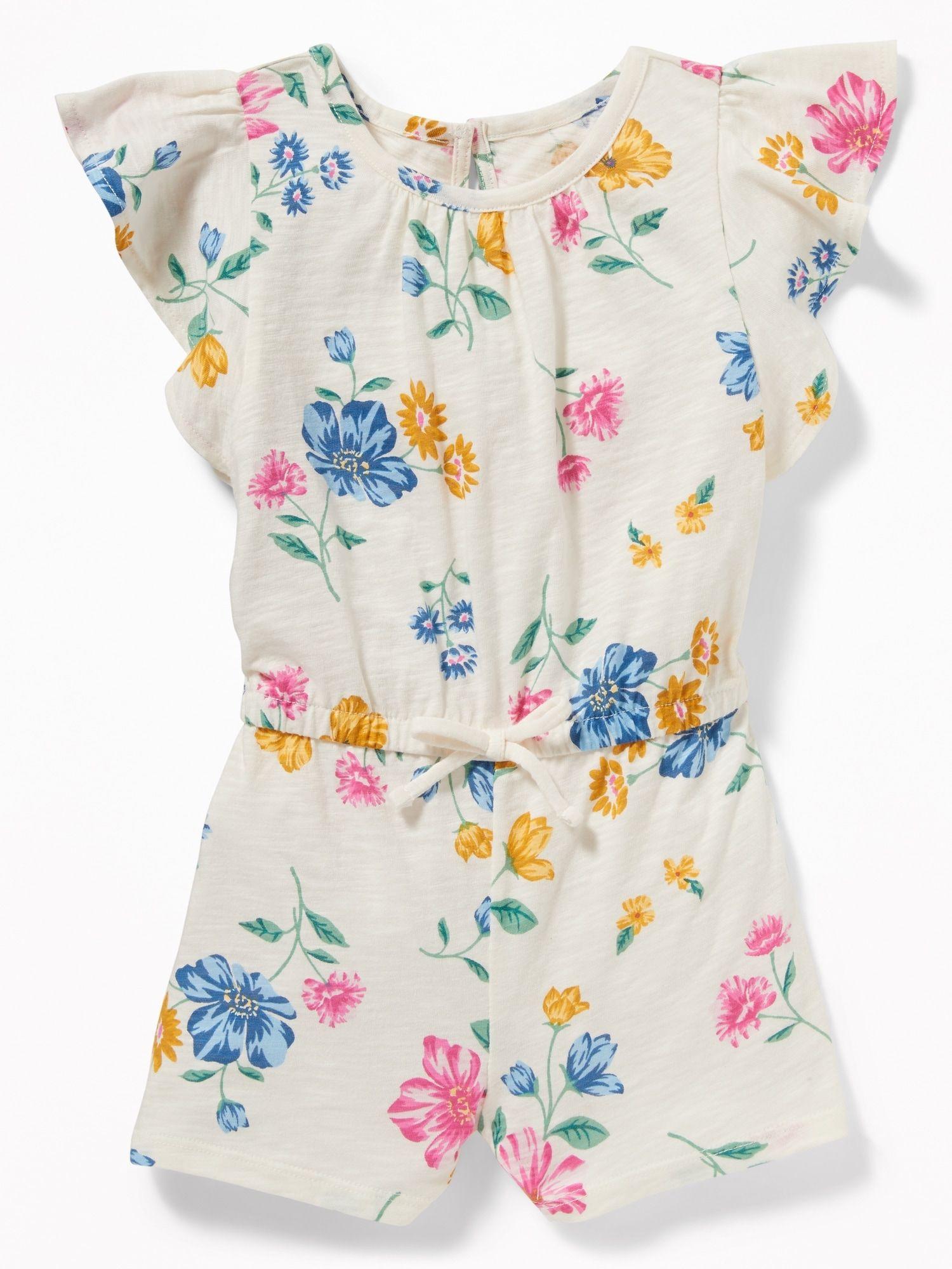 Printed Slub Knit Jersey Romper For Toddler Girls Rompers