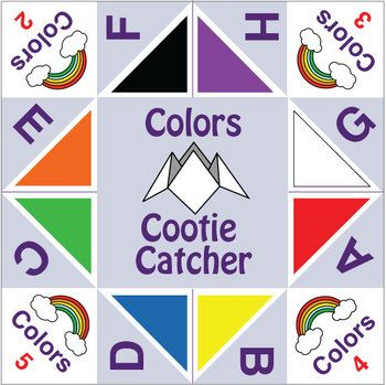 ESL Games - Cootie Catchers - Colors - This freebie is a simple - cootie catcher template