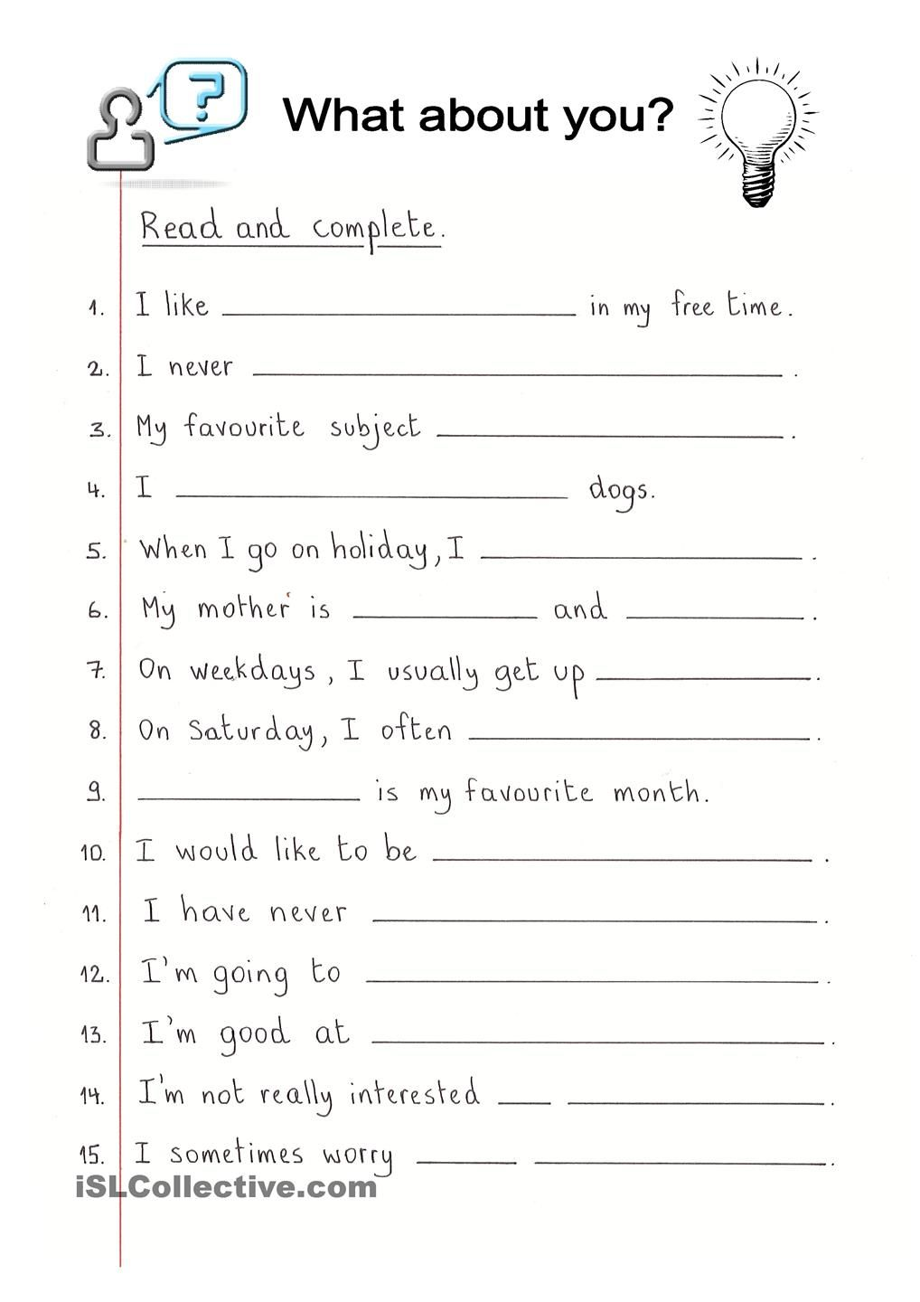 Read and Complete - What about you?   Education   Pinterest ...