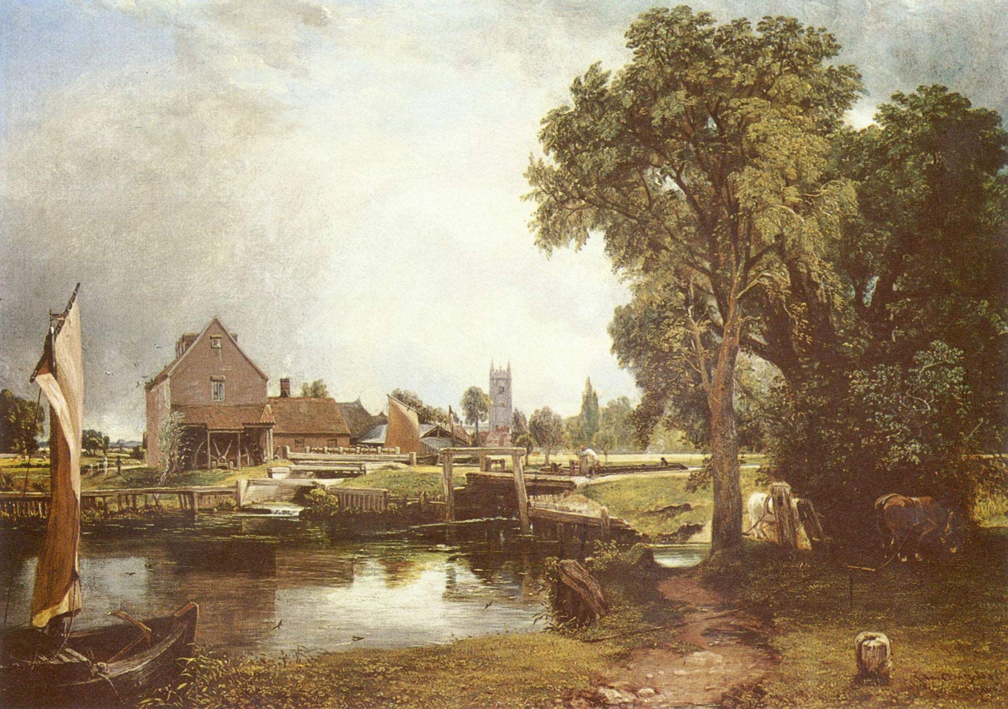John Constable 'Dedham Lock and Mill 1820' Canvas Art by Trademark ...