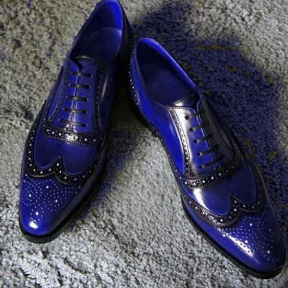 Blue Patina Handpainted Oxford Wing Tip Unique Handcrafted Genuine Leather Shoes