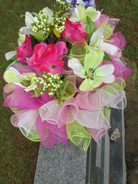 Headstone Saddle Grave Decoration Gravestone By Decomeshobsession Memorial Flowers