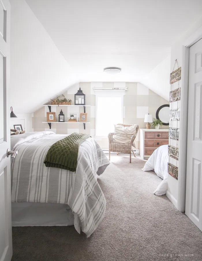 What S New In Fixer Upper Farmhouse Home Decor Volume 20 The Cottage Market In 2020 Attic Bedroom Designs Country Bedroom Decor Farmhouse Style Bedrooms