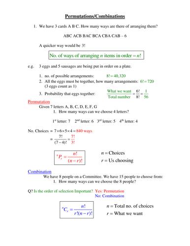 Permutations And Combination Doc Math Permutations Combinations